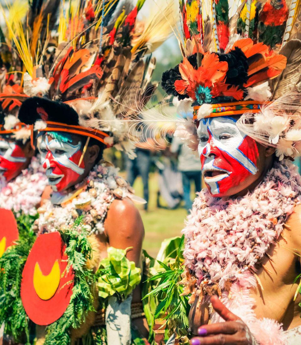 Traditional Enga cultural show. Wabag, Papua New Guinea.
