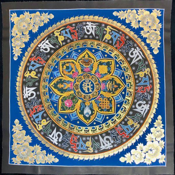 Nepalese Mandala-Mantra. Blue+ Gold/Black border