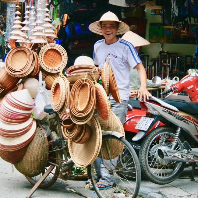 Wicker Hats for sale. Hanoi, Vietnam.