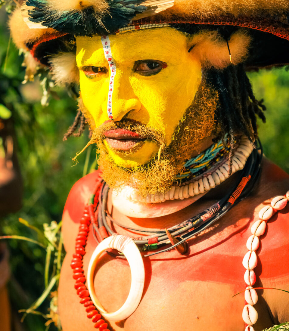 Traditional makeup and jewellery. Wabag, Papua New Guinea.