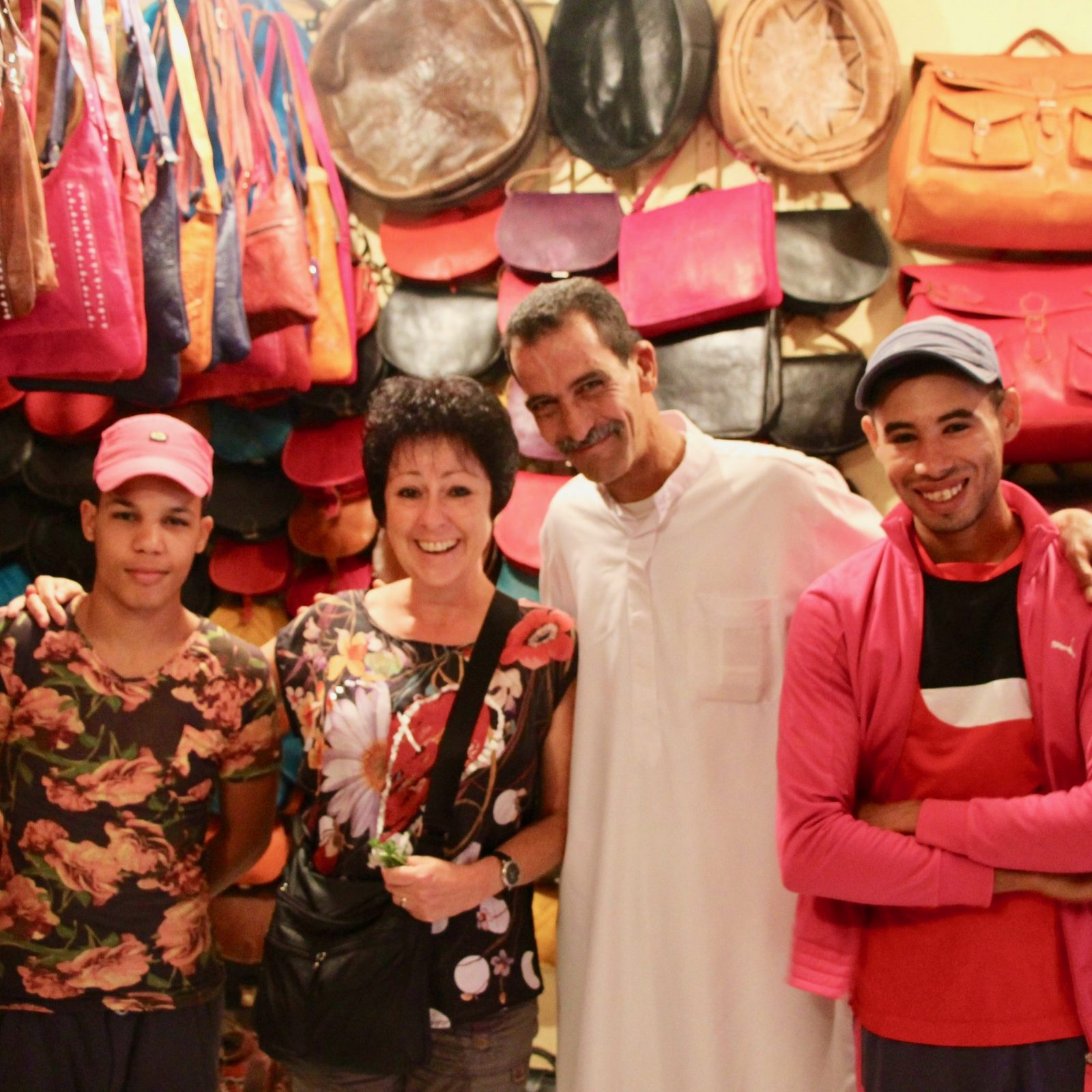 Friends in the Leather Store. Marrakesh, Morroco.