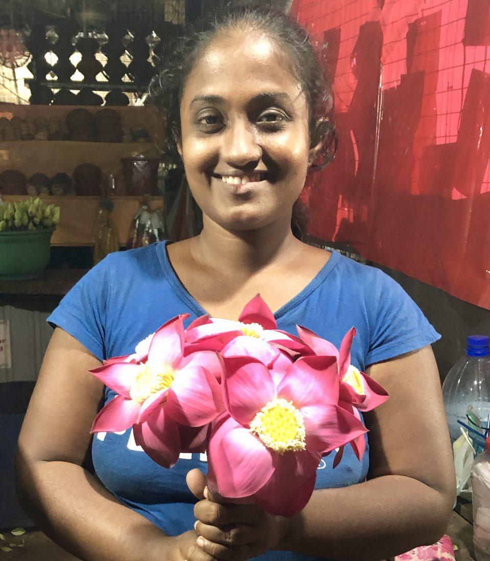 Flower seller at the Stupa entrance