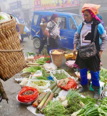 Local Vegetable Market. Yuanyang, China.