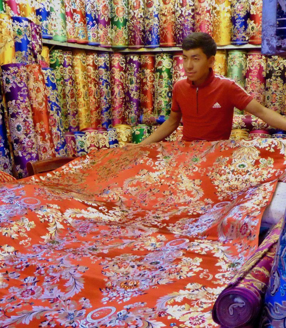 Local Fabric Market. Kashgar, North West China.